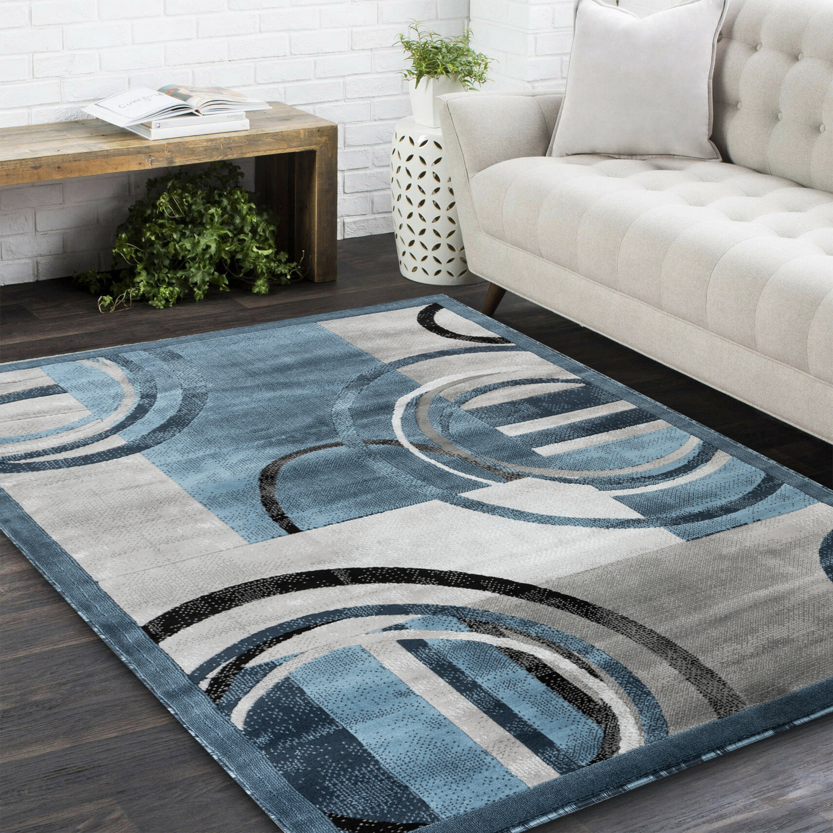 Orren Ellis Delana Abstract Blue Gray Ivory Area Rug Reviews Wayfair