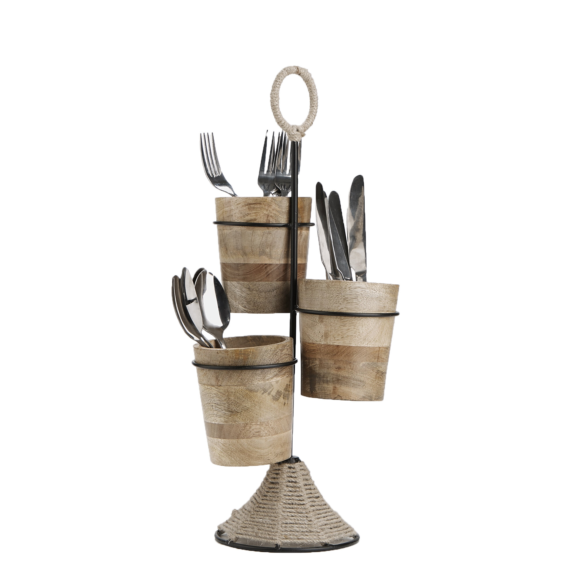 Wood and Rope Utensil Flatware Caddy