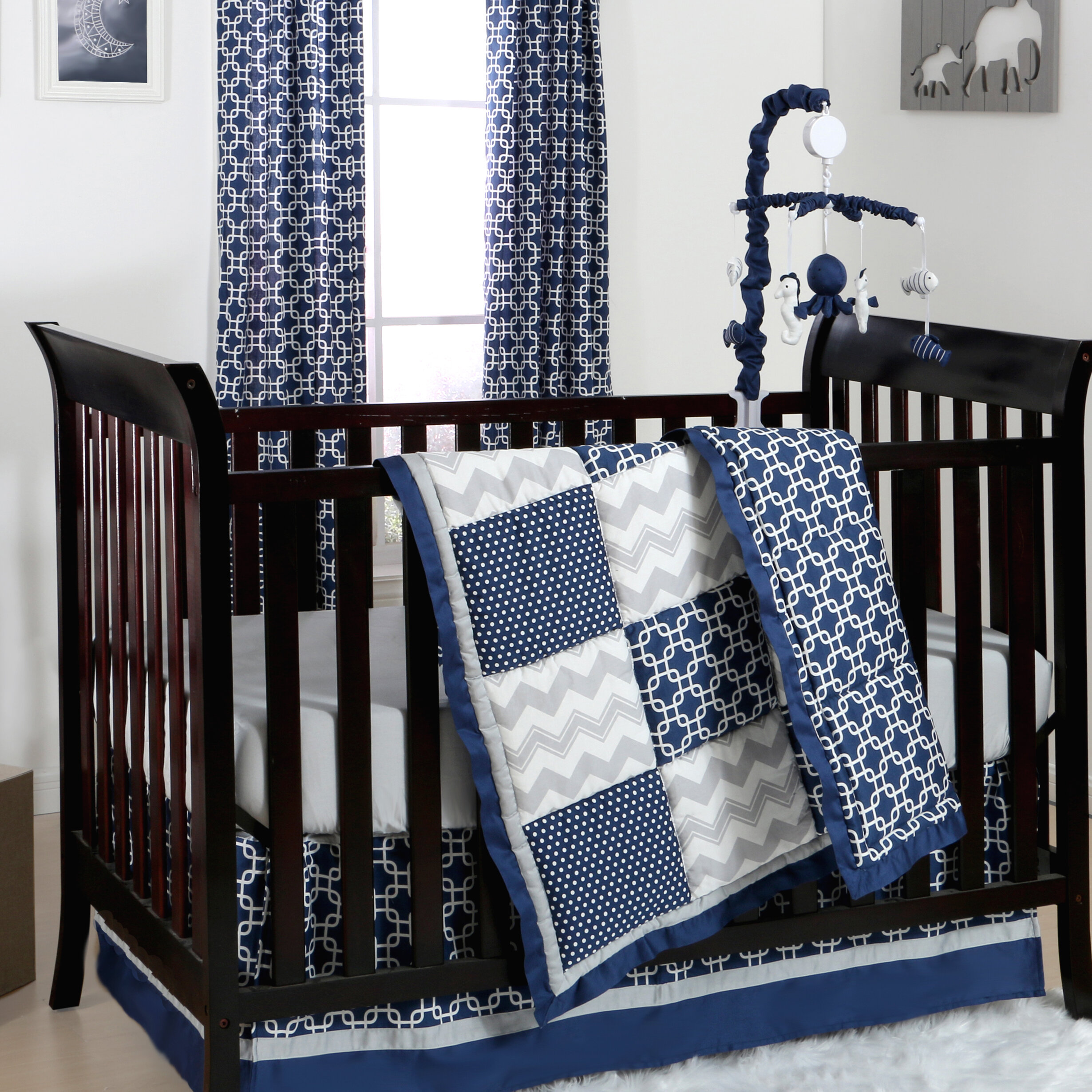 The Peanut Shell Doodle And Dot Patch 4 Piece Crib Bedding Set Reviews Wayfair