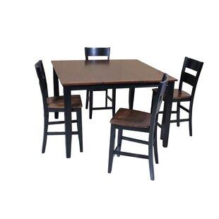 Blessington 5 Piece Counter Height Solid Wood Dining Set