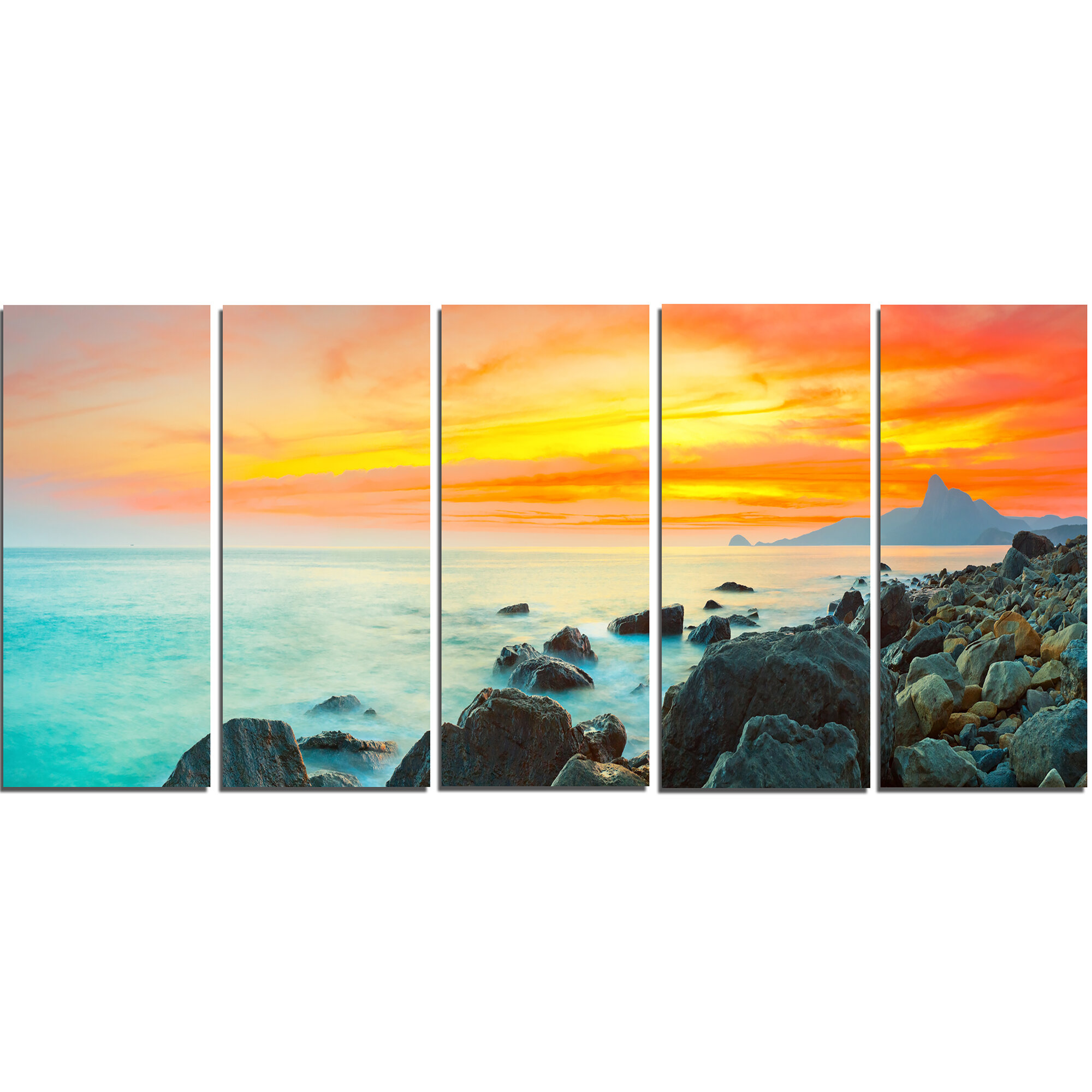 DesignArt Panoramic Sunset 5 Piece Wall Art on Wrapped Canvas Set ...