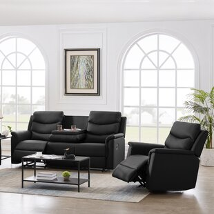 2 Pieces (3+1 Seater) Manual Recliner Living Room Set Grey PU by Red Barrel Studio