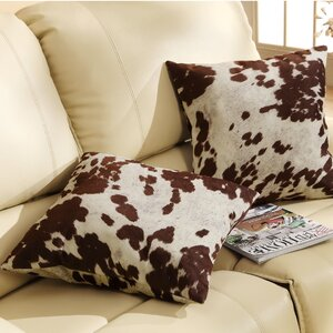 Margarida Square Cow Hide Print Throw Pillow (Set of 2)