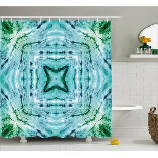 Star inside Square Tie Dye Decor Single Shower Curtain