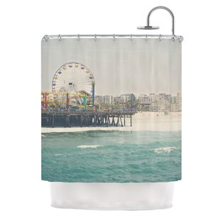 The Pier at Santa Monica by Laura Evans Coastal Single Shower Curtain