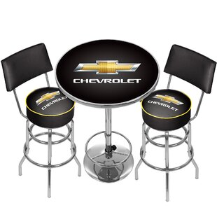 Trademark Global Chevrolet Game Room Combo 3 Piece Pub Table Set