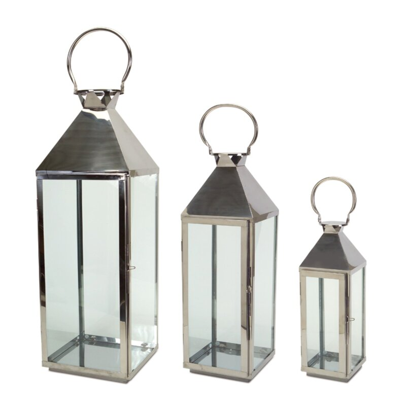 The Holiday Aisle 3 Piece Tall Metal Lantern Set Reviews Wayfair Ca
