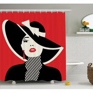 Amaris Decor Chic Women in Hat Single Shower Curtain