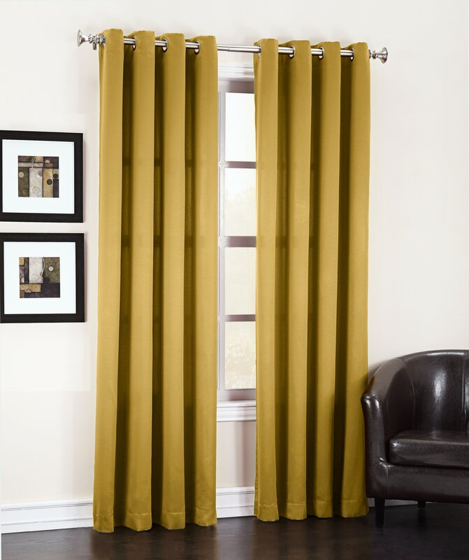 Sun Zero Groton Solid Room Darkening Grommet Single Curtain Panel