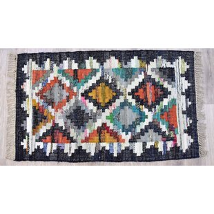 Best Choices Everby Handmade Kilim Cotton Gray/Black Area Rug ByUnion Rustic