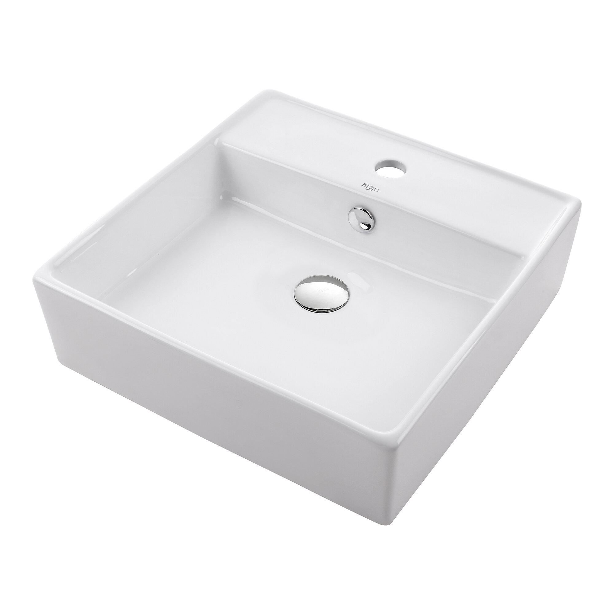 Ceramic Ceramic Square Vessel Bathroom Sink With Overflow Reviews Allmodern