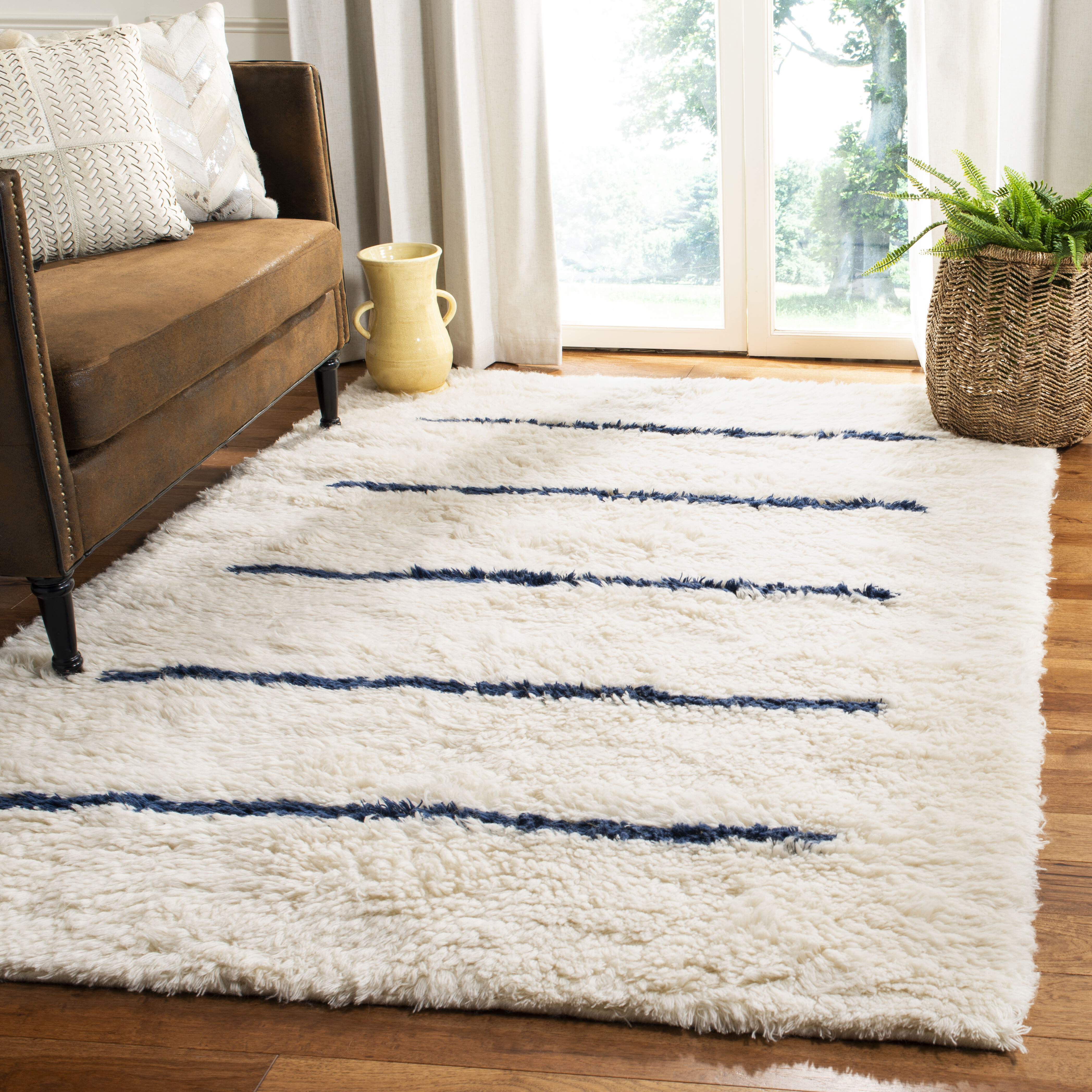 Aten Striped Hand Knotted Wool Ivory Navy Area Rug Reviews Allmodern