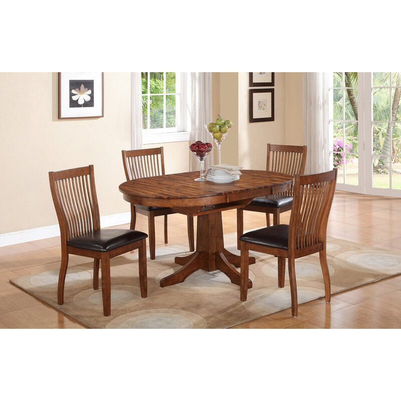 Loon Peak Blanco Point 5 Piece Extendable Solid Wood Dining Set Reviews Wayfair