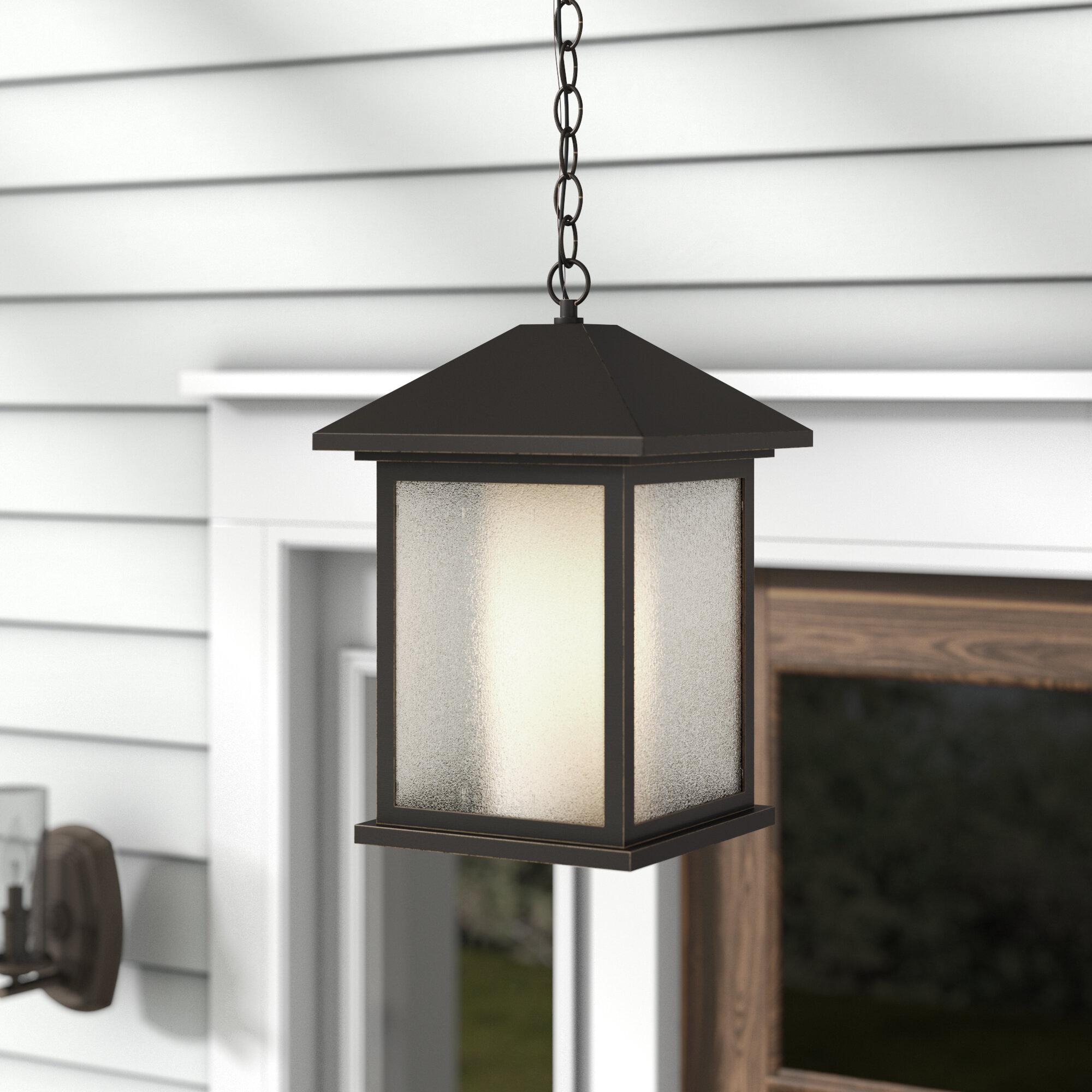 Winston Porter Savala Oil Rubbed Bronze 1 Bulb 15 25 H Outdoor Hanging Lantern Wayfair