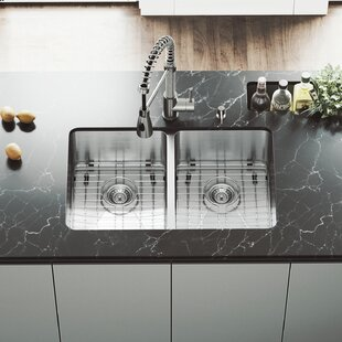 VIGO 29 inch Undermount 50/50 Double Bowl 16 Gauge Stainless Steel Kitchen Sink with Brant Stainless Steel Faucet, Two Grids, Two Strainers and Soap Dispenser