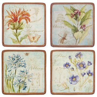 Fuentes Herb Blossoms 4 Piece Appetizer Plate Set