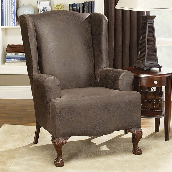 Sure Fit Stretch Leather T Cushion Wingback Slipcover U0026 Reviews | Wayfair