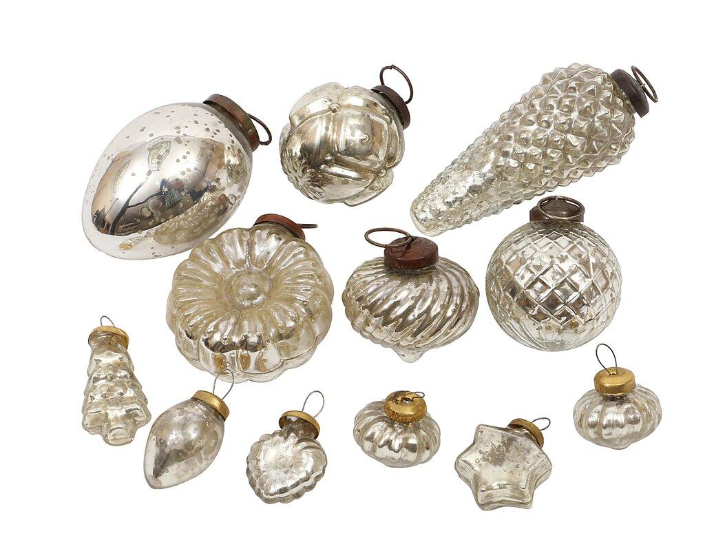 Silent Night 12 Piece Mercury Glass Ornament