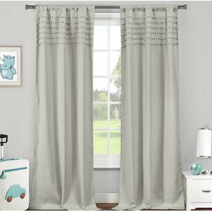 Seapine Pom Pom Trim Striped Light Filtering Thermal Rod Pocket Curtain Panels (Set of 2)
