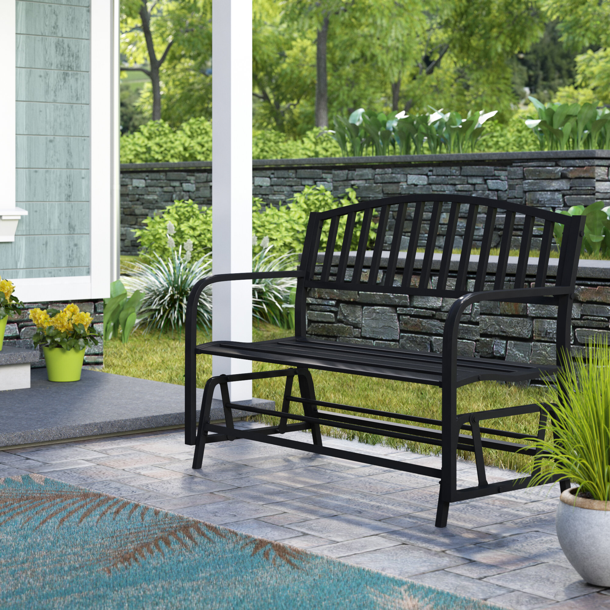 Picture of: Breakwater Bay Liv Outdoor Patio Glider Bench Reviews Wayfair
