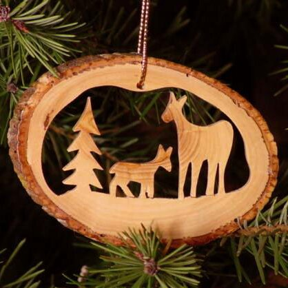 Deer Famly Tree Bark Ornament