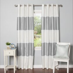 Best Home Fashion Inc Grommet Striped Blackout Thermal Curtain
