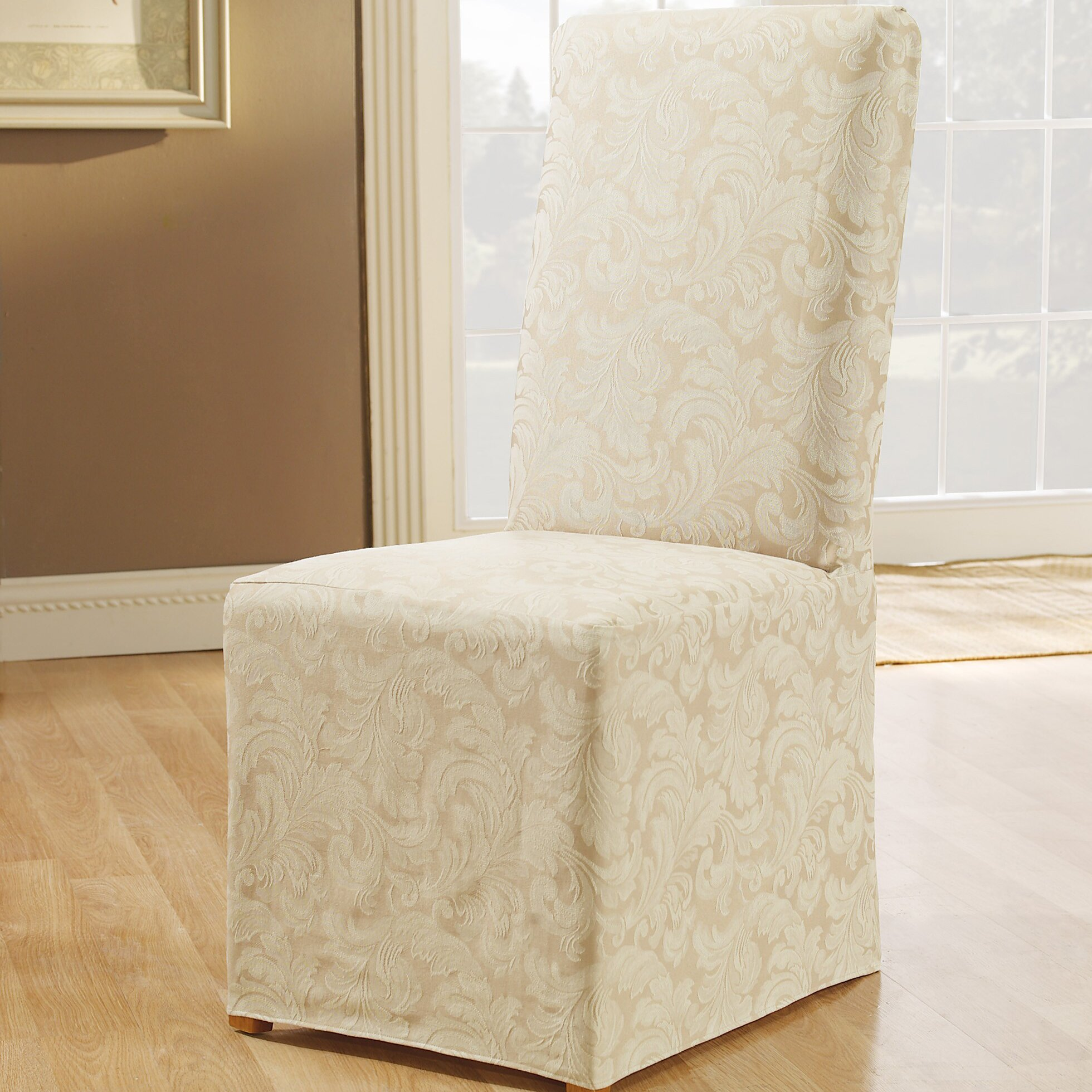 Sure Fit Scroll Classic Dining Chair Skirted Slipcover & Reviews ...