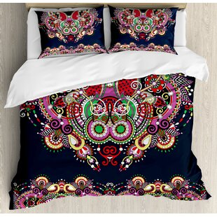 East Urban Home Ethnic Ukrainian Embroidery Fashioned Ornate Paisley with Unique Features Motif Duvet Set
