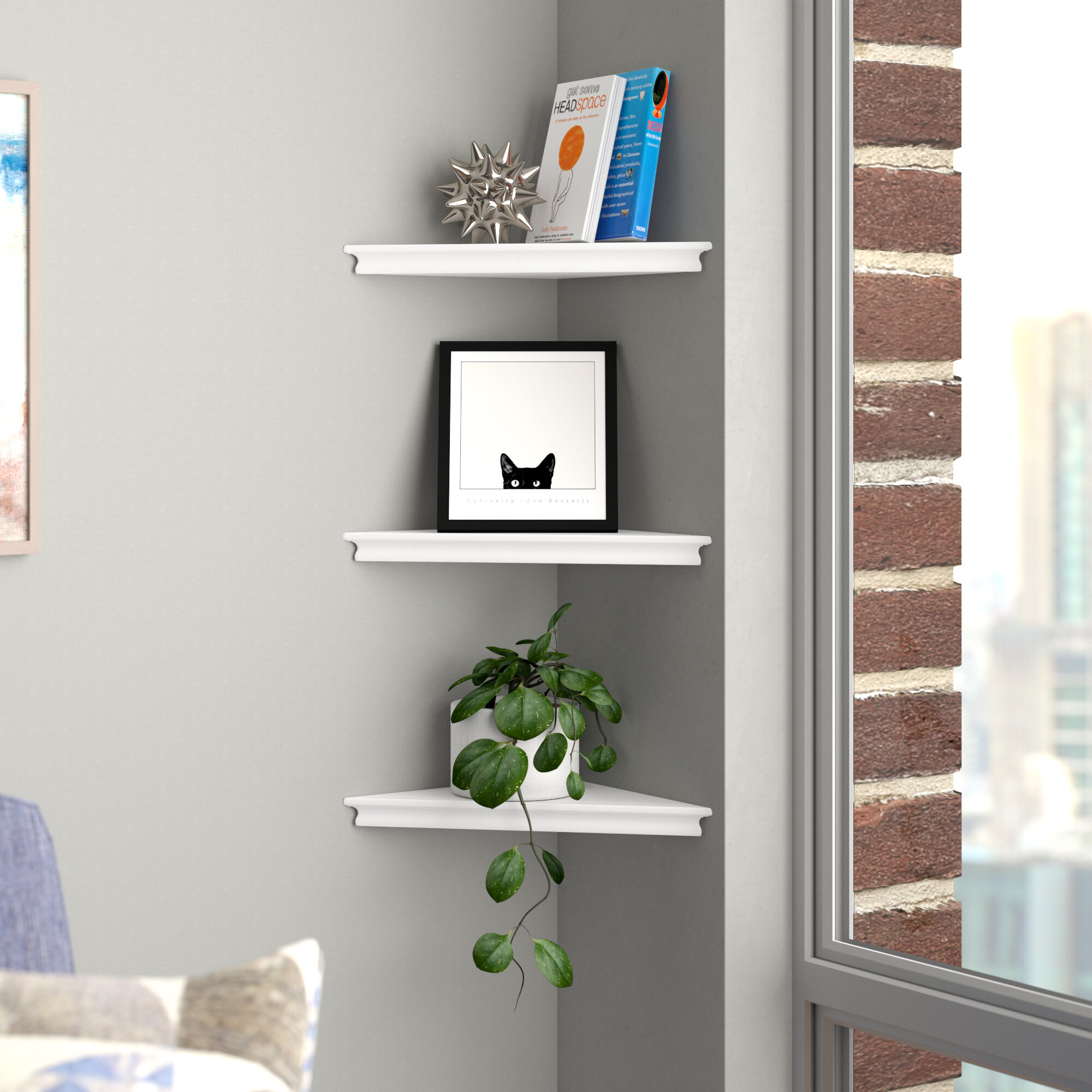Set of 25 Floating Corner Wall Shelf Home Decor Furniture Shelves ...