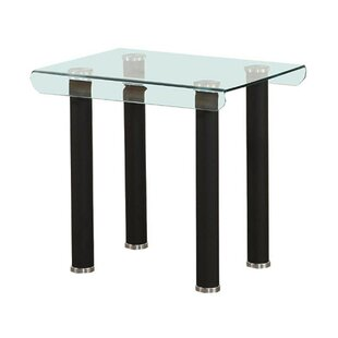 Mosquera Tempered Glass Top Metal Feet End Table by Orren Ellis