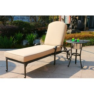 Baney Reclining Chaise Lounge with Cushion and Table