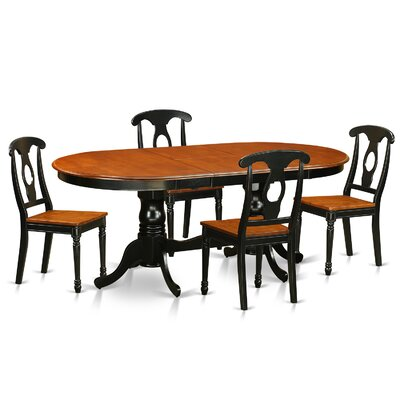 August Grove Pilcher Extendable Solid Wood Dining Set  Color: Black / Cherry, Pieces Included: 5 Pieces: 1 Table, 4 Chairs