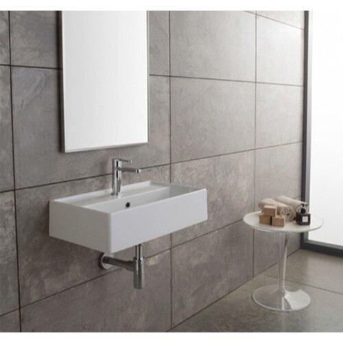 Scarabeo By Nameeks Teorema White Ceramic Rectangular Wall Mount Bathroom Sink With Overflow Reviews Wayfair