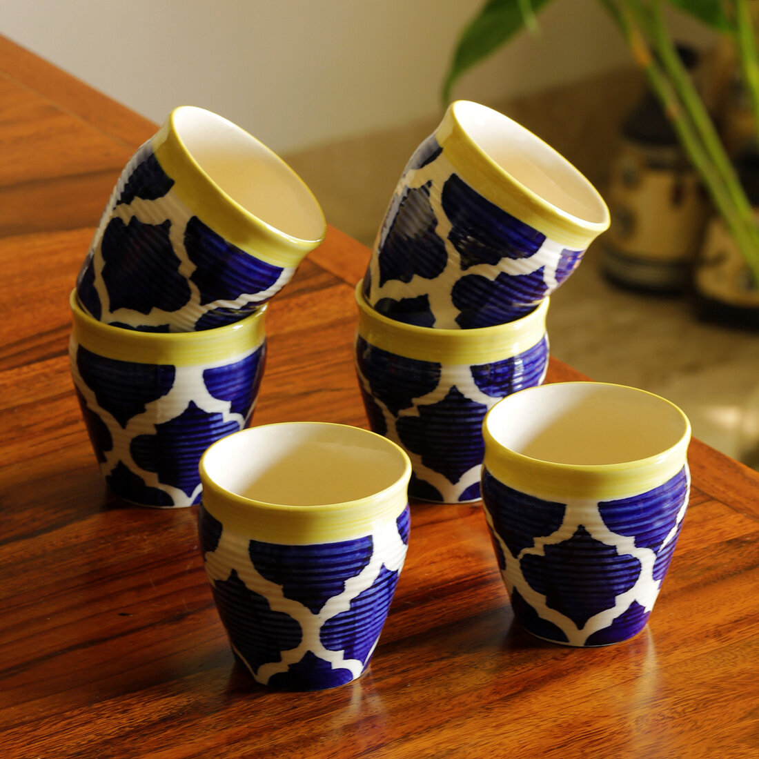 Exclusivelane Tropic Of Kulhads Handpainted In Ceramic Set Of 6 Wayfair