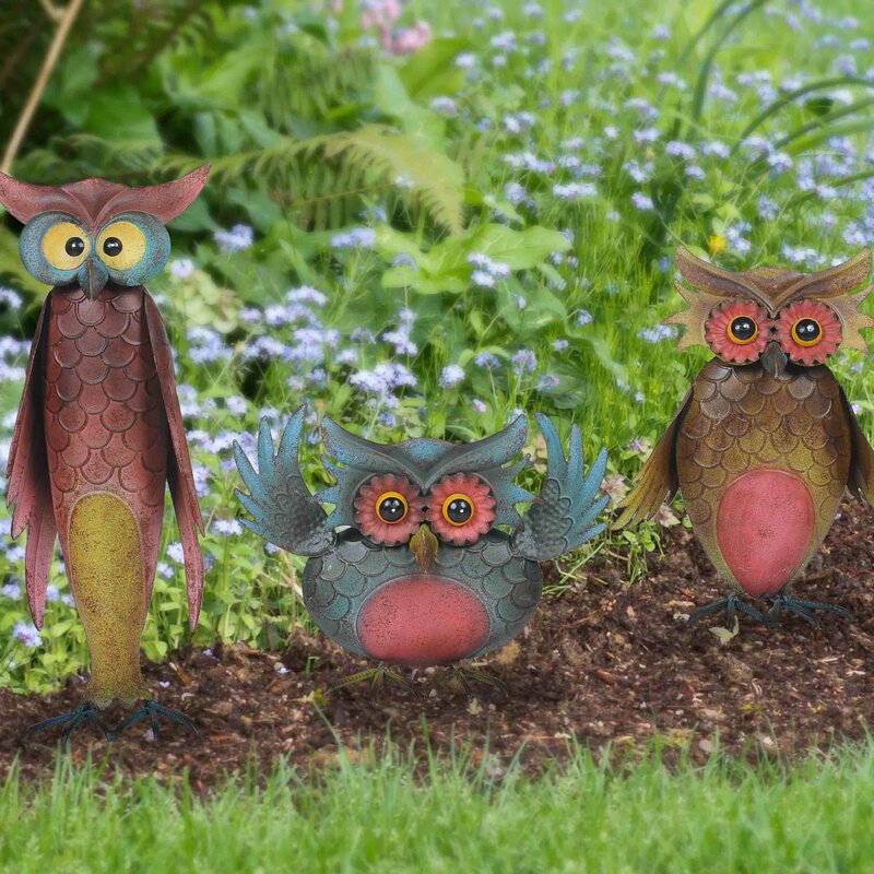 Awesome Whimsical 3 Piece Owl Garden Statue Set