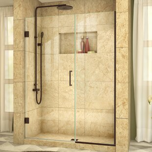 Best Deals Unidoor Plus 53 x 72 Hinged Frameless Shower Door with Clearmax™ Technology ByDreamLine
