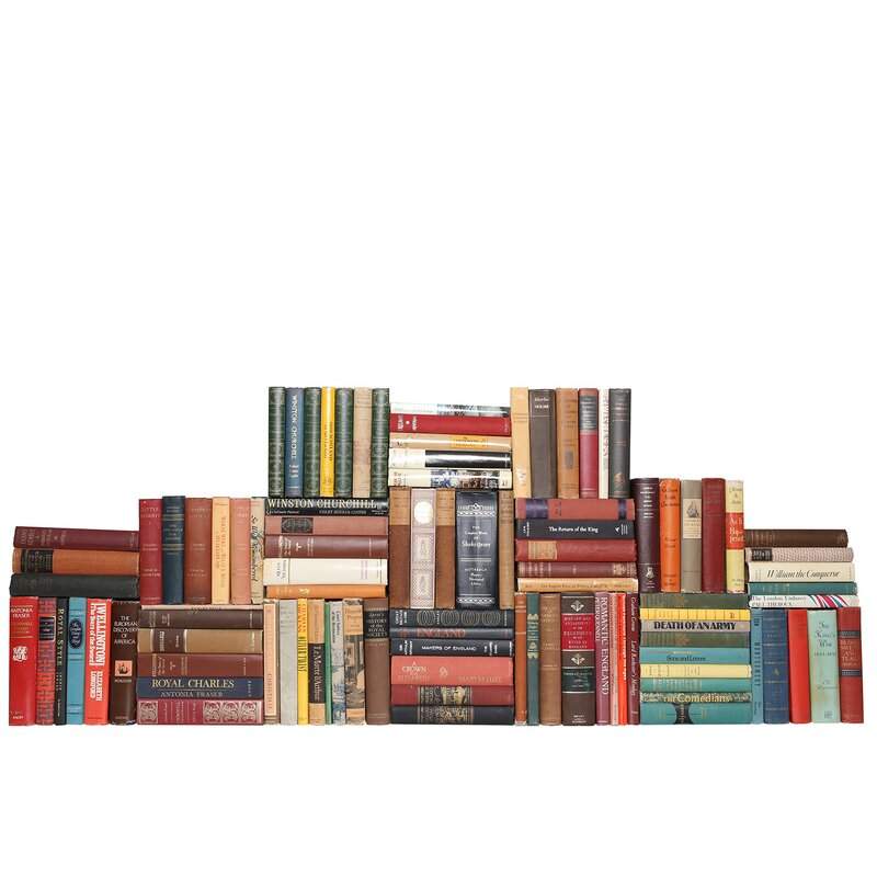 Booth Williams 100 Piece Curated Library Curated Vintage British Library Authentic Decorative Book Set Perigold