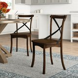 Aguon Solid Wood Cross Back Side Chair (Set of 2) by Three Posts™