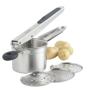 4 Piece Stainless Steel Mash Potato Ricer Masher/Fruit Press/Baby Food Strainer with 3 Interchangeable Discs and Soft Grip Handle