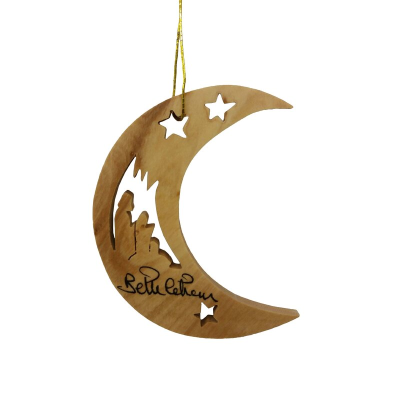 Earthwoodllc Olive Wood Moon With Holy Family And Stars Ornament Wayfair
