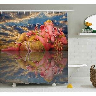 Mejia Indian Chubby Statue of Indian Elephant Goddess on Beach Thailand Sunset Sky Wisdom Shower Curtain + Hooks