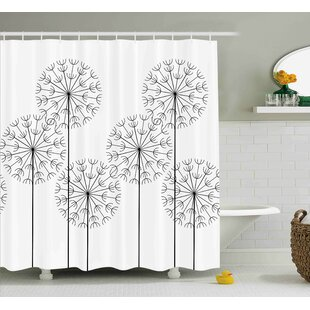 Kass Modern Hand Drawn Digital Flower Dandelions Botanic Plants Nature Artwork Print Single Shower Curtain