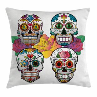 Bon Sugar Skull Rich Colors Ornate Square Pillow Cover
