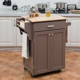 Allemans Kitchen Cart with Solid + Manufactured Wood by Ebern Designs