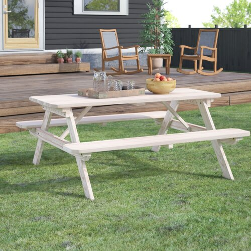 Loon Peak Sinopah Solid Wood Picnic Table Wayfair Ca