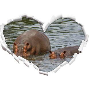 Two Hippopotamus In High Water Wall Sticker By East Urban Home