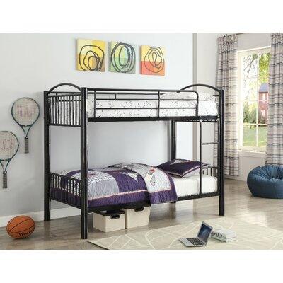 Agnes Metal Bunk Bed Harriet Bee Bed Frame Color: Black, Size: Twin over Twin