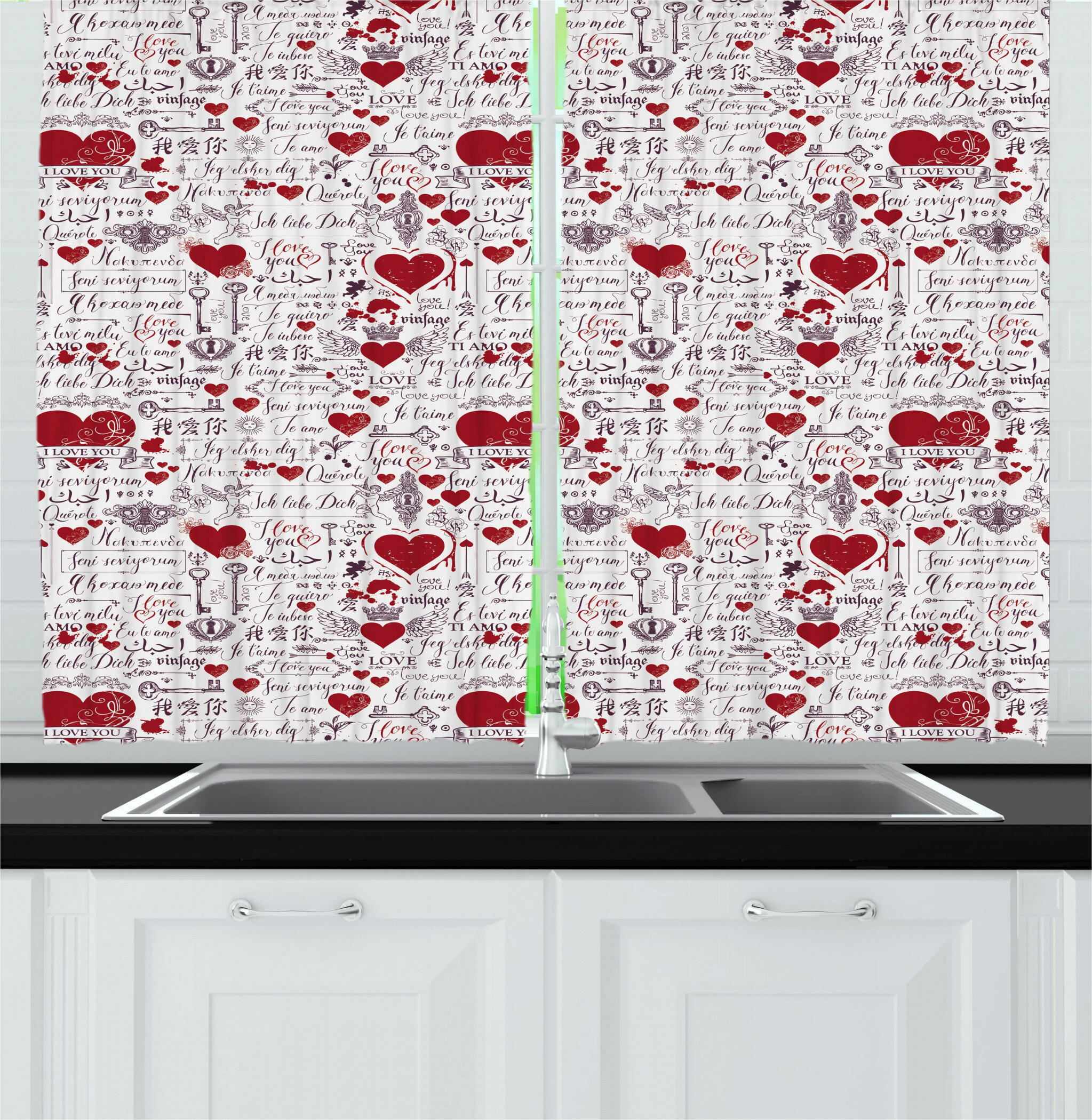 East Urban Home Vintage Valentine I Love You In Several Languages With Paint Drops And Hearts Kitchen Curtain Wayfair