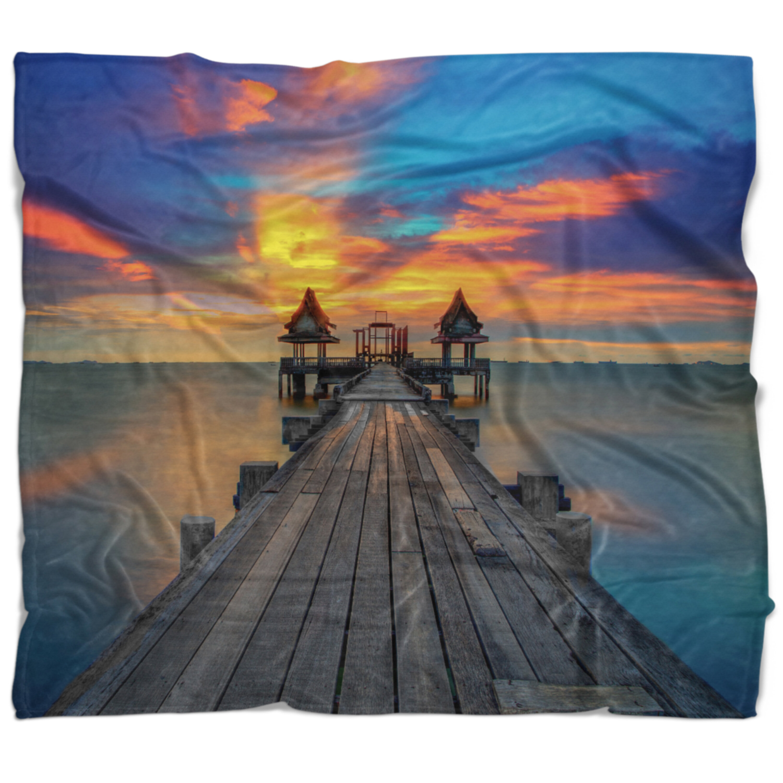 East Urban Home Pier Seascape Wide Wooden Bridge Into Distant Sun Blanket Wayfair