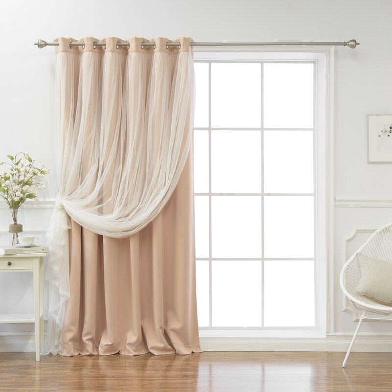 Lace Tulle Overlay Solid Blackout Thermal Grommet Single Curtain Panel